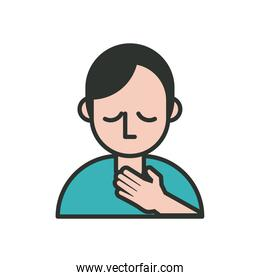 person with sore throat covid19 symptom line and fill style