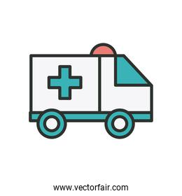 ambulance car line and fill style icon