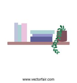shelf with books and potted plant decoration isolated design icon white background