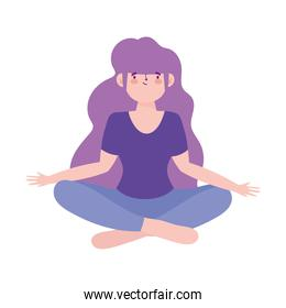 young woman practicing meditation yoga isolated design icon white background