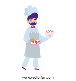 stay at home, male chef with dessert and fruits cartoon, cooking quarantine activities
