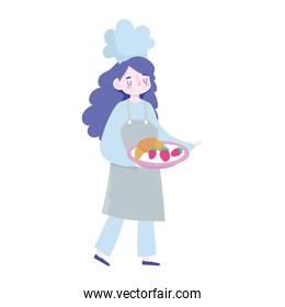 stay at home, female chef with food in tray cartoon, cooking quarantine activities