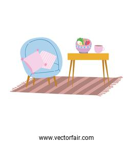 home chair carpet table with food and coffee cup
