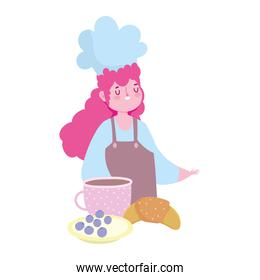 stay at home, female chef coffee cup croissant dessert cartoon