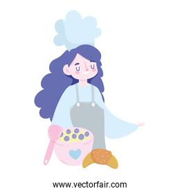 isolated  female chef with bread fruit dessert cartoon, cooking quarantine activities
