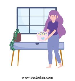 stay at home, woman with bowl dessert cartoon, cooking quarantine activities over white