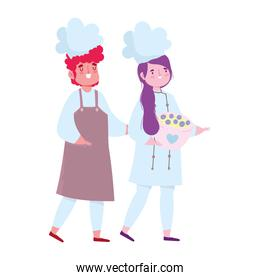 stay at home, female and male chef with bowl cartoon, cooking quarantine activities