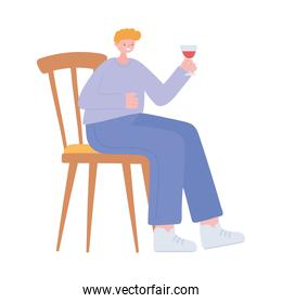 young man with wine cup sitting on chair isolated icon design