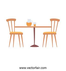 table with glass jar and cup with juice and chairs isolated design icon white background
