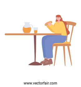 restaurant social distancing, woman eating alone in table, covid 19 pandemic, prevention of coronavirus infection