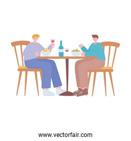 restaurant social distancing, men eating in table new normal life, covid 19 pandemic, prevention of coronavirus infection