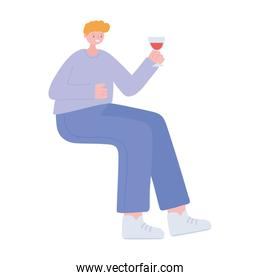 young man sitting with glass wine isolated design icon white background