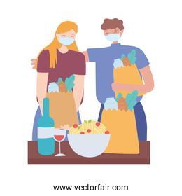 covid 19 coronavirus social distancing prevention, couple with face mask holding grocery bags keeping distance
