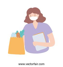 young woman wearing medical mask and grocery bag with food, protection covid 19 coronavirus outbreak