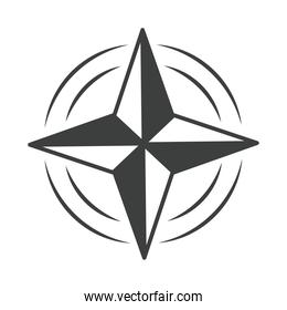 compass rose navigation cartography equipment line design icon