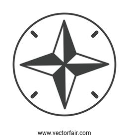 navigational compass cartography equipment line design icon