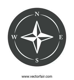 compass rose navigation cartography explore equipment silhouette design icon