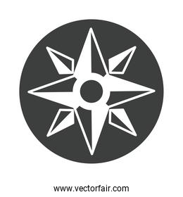 compass rose navigation cartography journey equipment silhouette design icon