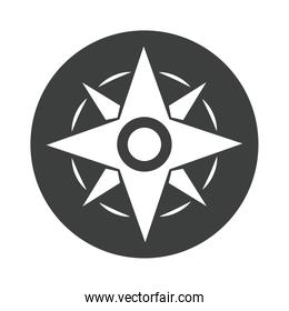 compass rose navigation adventure equipment silhouette design icon