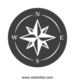 compass rose navigational aids cartography equipment silhouette design icon