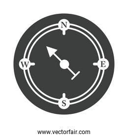 compass rose navigation exploration geography equipment silhouette design icon
