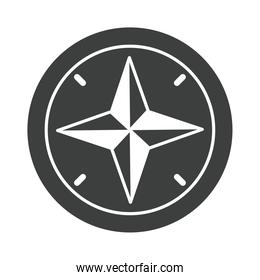 navigational compass cartography equipment silhouette design icon
