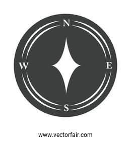 compass rose navigation tourism exploration equipment silhouette design icon