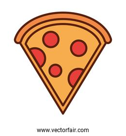 fast food slice pizza dinner and menu, tasty meal and unhealthy line and fill icon