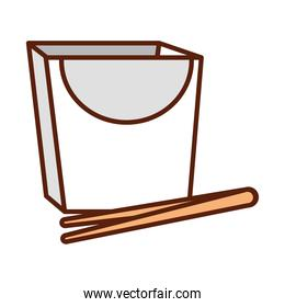 box with chopsticks package line and fill icon