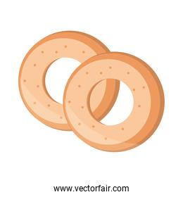 bread rings menu bakery food product flat style icon