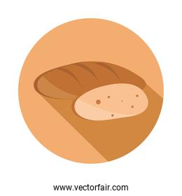 bread whole and piece menu bakery food product block and flat icon