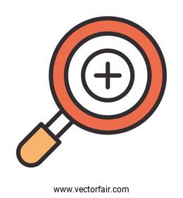 magnifying glass plus line and fill design icon