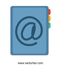 address book contact office supply stationery work flat style icon
