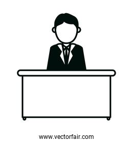 businessman character working at desk office isolated design