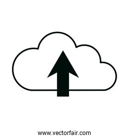 cloud computing upload data storage isolated linear style icon