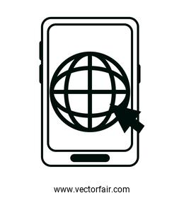 smartphone world click work linear style icon