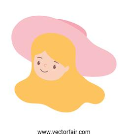 woman face with hat cartoon isolated design icon white background