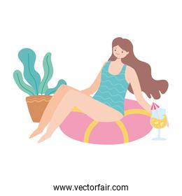 summer time beach girl drinking cocktail relaxing vacation tourism