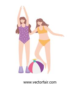 summer time beach women with ball vacation tourism