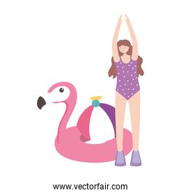 summer time woman with flamingo float ball vacation tourism