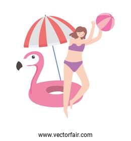 summer time vacation tourist girl playing with ball umbrella and flamingo float