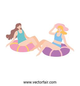 summer time vacation tourism women sitting on swimming ring isolated design