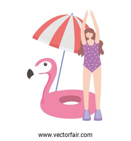 summer time vacation tourism woman with umbrella flamingo float isolated design