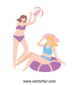 summer time girls with beach ball and float vacation tourism