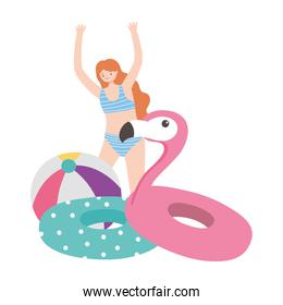 summer time happy woman with floats and ball vacation tourism