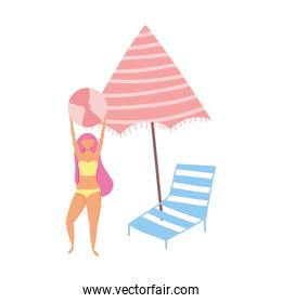 people summer related design, girl with ball umbrella and deck chair