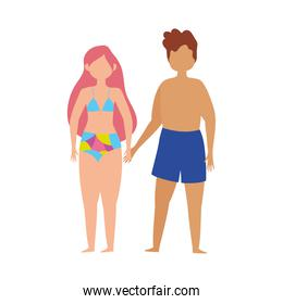 couple character with swimsuits cartoon isolated design icon