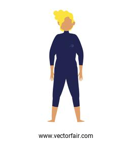 young man in swimsuit for diving or surfing cartoon isolated design icon