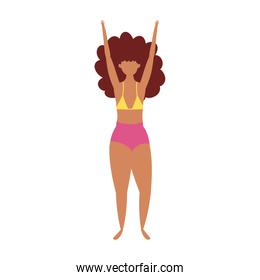 woman in swimsuit character cartoon isolated design icon