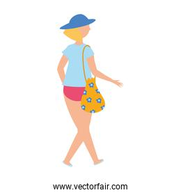 back view woman with bag and casual clothes cartoon isolated design icon